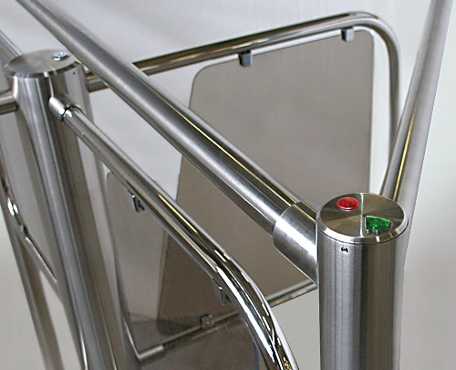 Waist height turnstile direction indicator lights