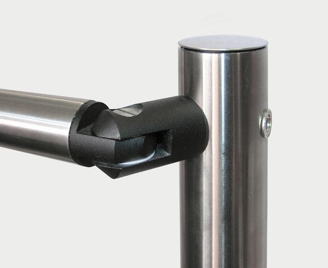 Railings rotary hinged unit made of black plastic
