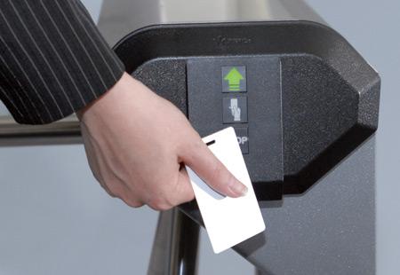Proximity card reader built in turnstile