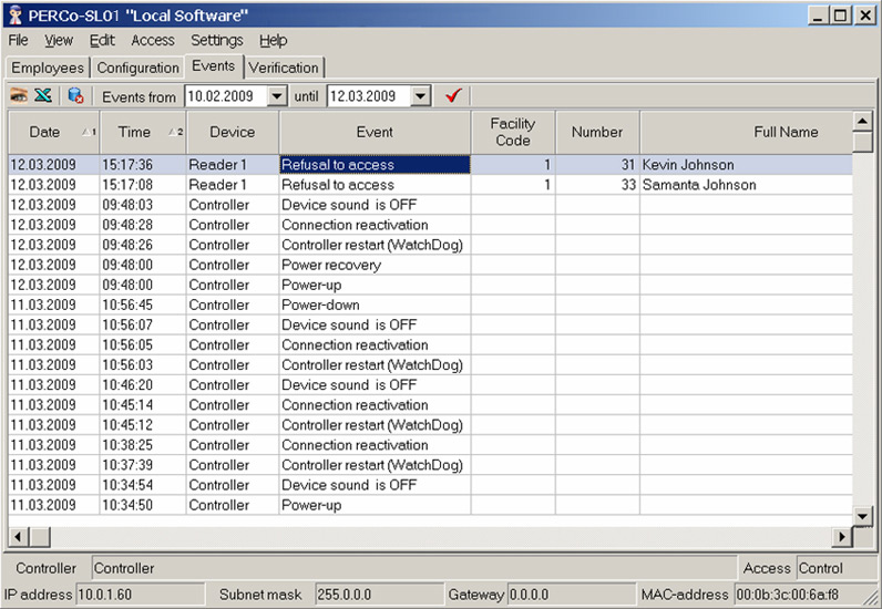 Access control system event list sample screenshot
